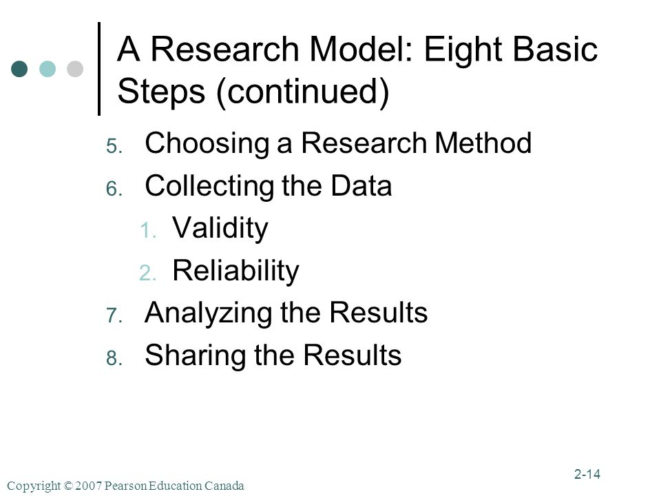 Copyright © 2007 Pearson Education Canada 2-14 A Research Model: Eight Basic Steps (continued) 5.