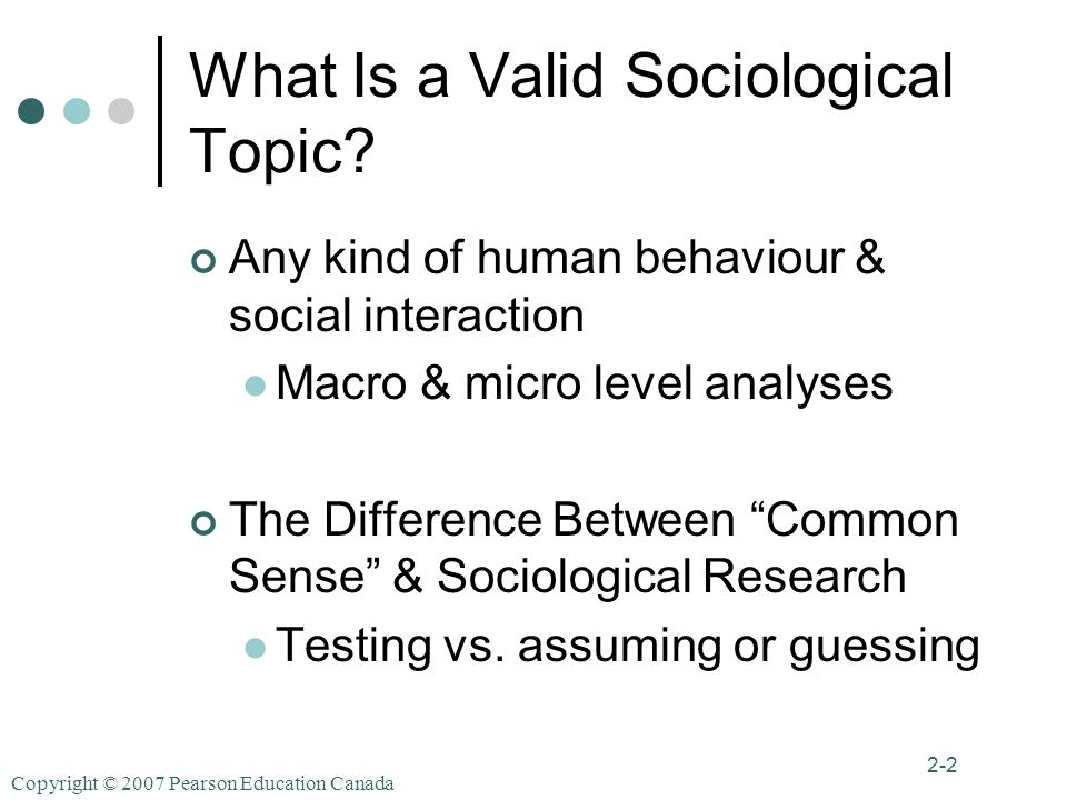 Copyright © 2007 Pearson Education Canada 2-2 What Is a Valid Sociological Topic.