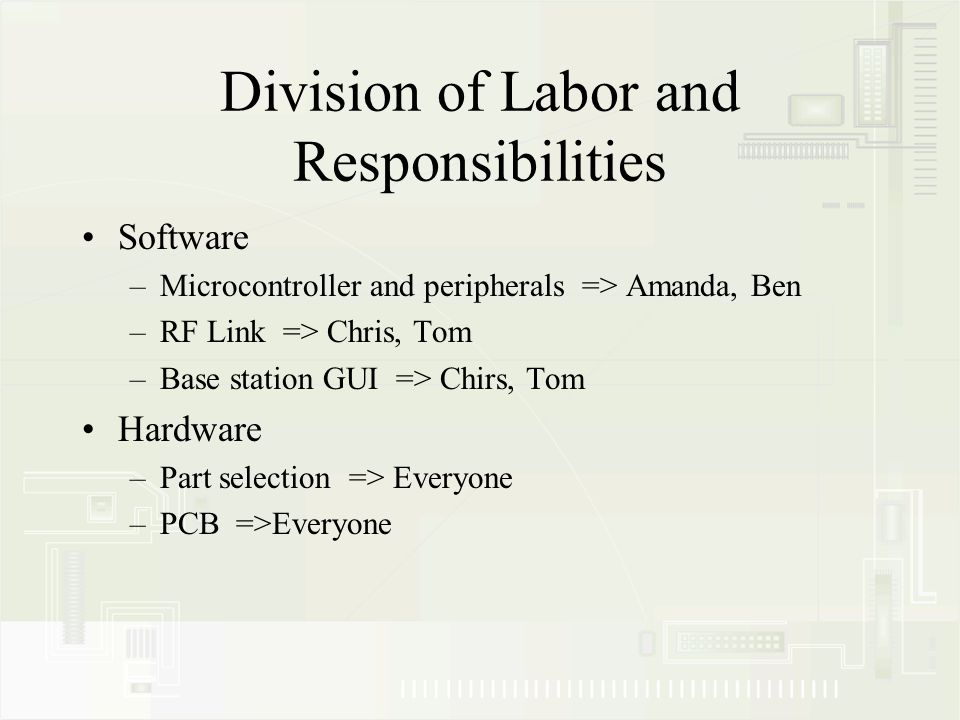 Division of Labor and Responsibilities Software –Microcontroller and peripherals => Amanda, Ben –RF Link => Chris, Tom –Base station GUI => Chirs, Tom Hardware –Part selection => Everyone –PCB =>Everyone