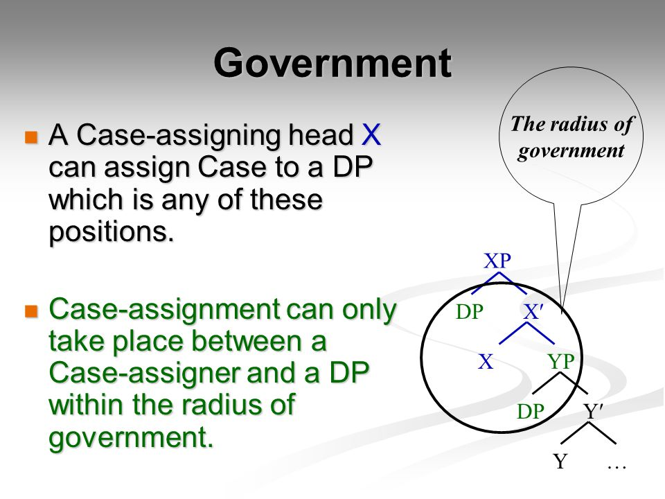 Government A Case-assigning head X can assign Case to a DP which is any of these positions.