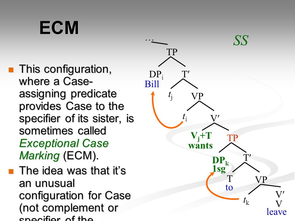 ECM This configuration, where a Case- assigning predicate provides Case to the specifier of its sister, is sometimes called Exceptional Case Marking (ECM).