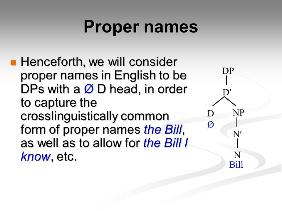 Proper names Henceforth, we will consider proper names in English to be DPs with a Ø D head, in order to capture the crosslinguistically common form of proper names the Bill, as well as to allow for the Bill I know, etc.