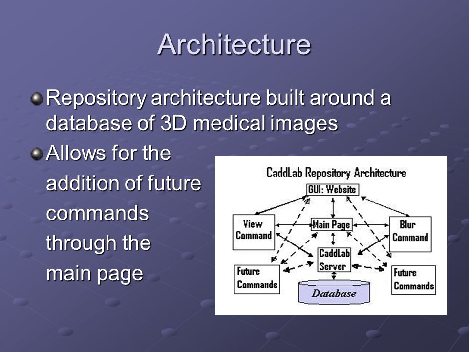 Architecture Repository architecture built around a database of 3D medical images Allows for the addition of future commands through the main page