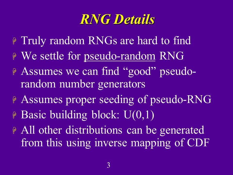 1 Random Number Generation H Plan: –Introduce basics of RN