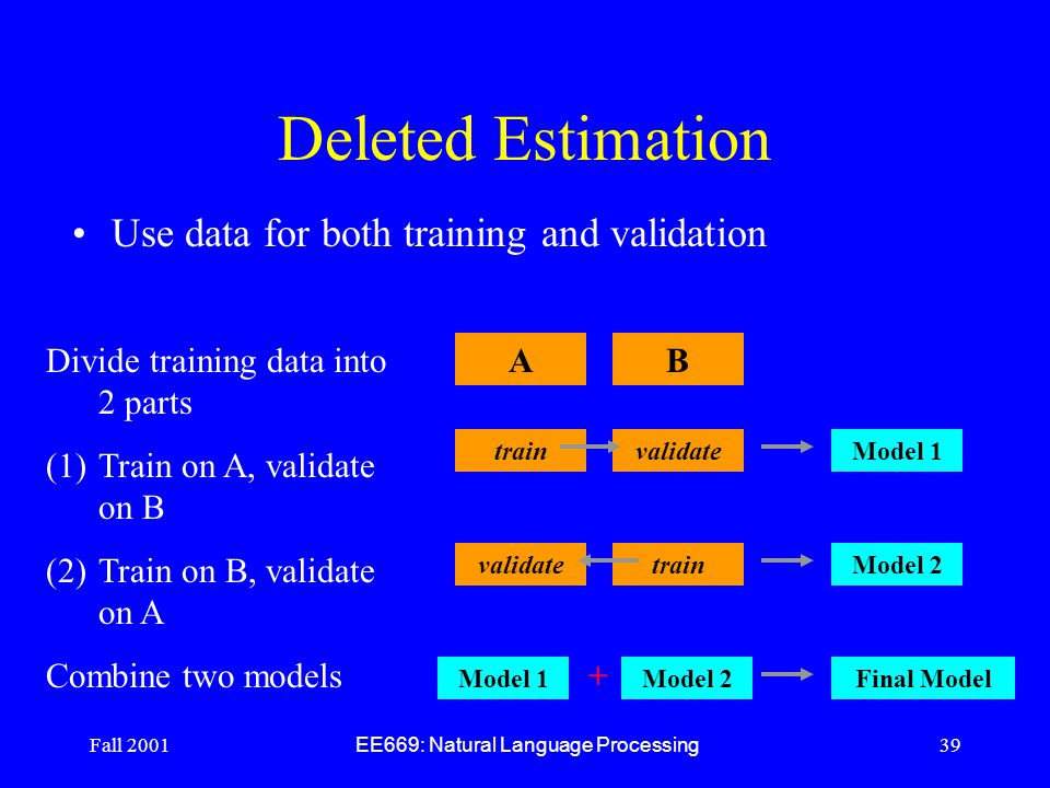 Fall 2001 EE669: Natural Language Processing 39 Deleted Estimation Use data for both training and validation Divide training data into 2 parts (1)Train on A, validate on B (2)Train on B, validate on A Combine two models AB trainvalidate train Model 1 Model 2 Model 1Model 2 + Final Model