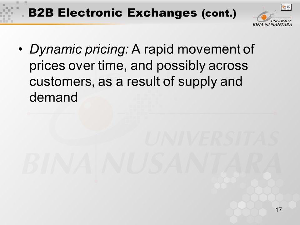 17 B2B Electronic Exchanges (cont.) Dynamic pricing: A rapid movement of prices over time, and possibly across customers, as a result of supply and demand