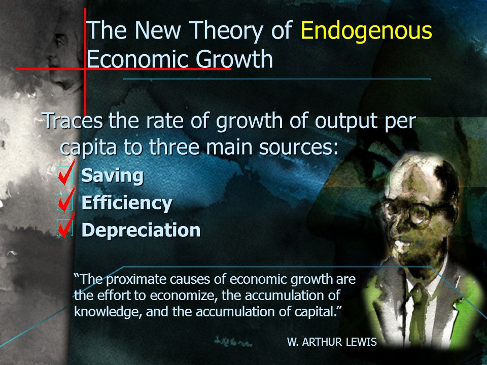 The Neoclassical Theory of Exogenous Economic Growth Traces the rate of growth of output per capita to a single source: Technological progress Hence, economic growth in the long run is immune to economic policy, good or bad To change the rate of growth of real output per head you have to change the rate of technical progress. ROBERT M.