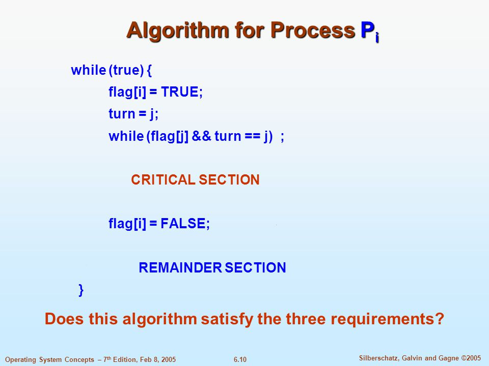 6.10 Silberschatz, Galvin and Gagne ©2005 Operating System Concepts – 7 th Edition, Feb 8, 2005 Algorithm for Process P i while (true) { flag[i] = TRUE; turn = j; while (flag[j] && turn == j) ; CRITICAL SECTION flag[i] = FALSE; REMAINDER SECTION } Does this algorithm satisfy the three requirements
