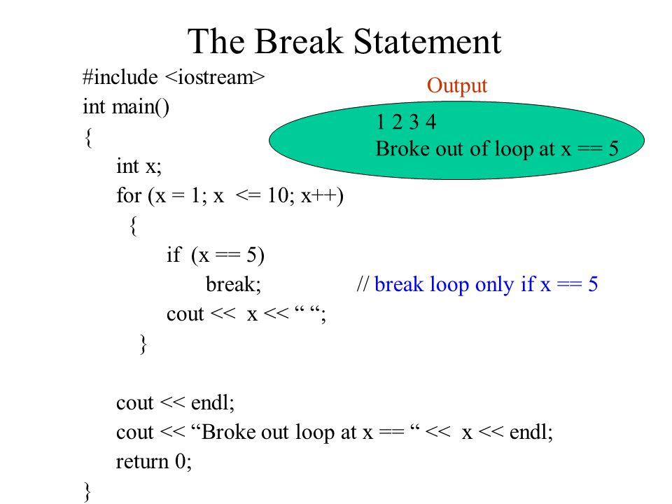 The Break Statement #include int main() { int x; for (x = 1; x <= 10; x++) { if (x == 5) break; // break loop only if x == 5 cout << x << ; } cout << endl; cout << Broke out loop at x == << x << endl; return 0; } Broke out of loop at x == 5 Output