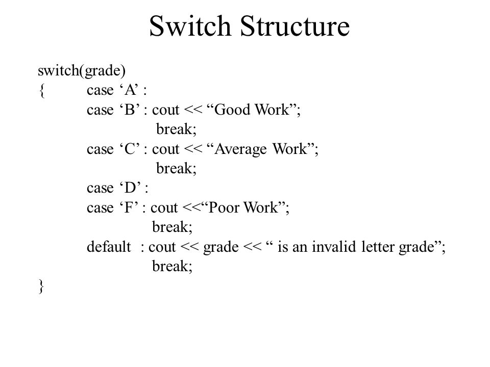 Switch Structure switch(grade) { case 'A' : case 'B' : cout << Good Work ; break; case 'C' : cout << Average Work ; break; case 'D' : case 'F' : cout << Poor Work ; break; default : cout << grade << is an invalid letter grade ; break; }