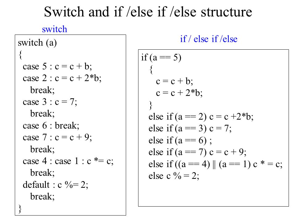 Switch and if /else if /else structure switch (a) { case 5 : c = c + b; case 2 : c = c + 2*b; break; case 3 : c = 7; break; case 6 : break; case 7 : c = c + 9; break; case 4 : case 1 : c *= c; break; default : c %= 2; break; } if (a == 5) { c = c + b; c = c + 2*b; } else if (a == 2) c = c +2*b; else if (a == 3) c = 7; else if (a == 6) ; else if (a == 7) c = c + 9; else if ((a == 4) || (a == 1) c * = c; else c % = 2; switch if / else if /else