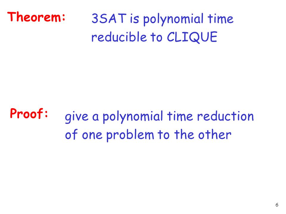 6 Theorem: 3SAT is polynomial time reducible to CLIQUE Proof: give a polynomial time reduction of one problem to the other