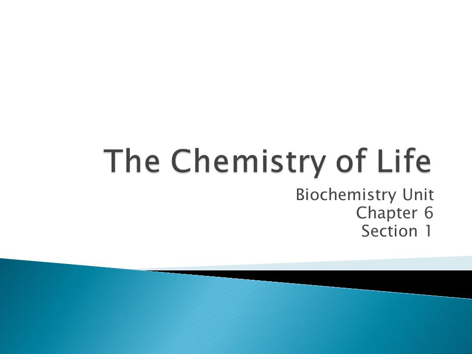 Biochemistry Unit Chapter 6 Section 1