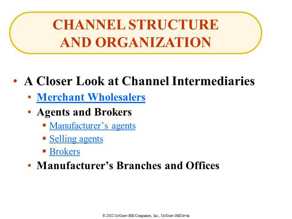 © 2002 McGraw-Hill Companies, Inc., McGraw-Hill/Irwin A Closer Look at Channel Intermediaries Merchant Wholesalers Agents and Brokers  Manufacturer's agents Manufacturer's agents  Selling agents Selling agents  Brokers Brokers Manufacturer's Branches and Offices CHANNEL STRUCTURE AND ORGANIZATION