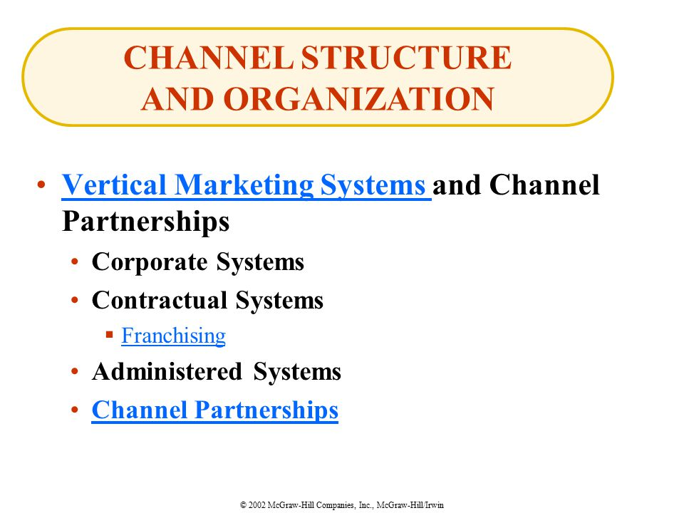 © 2002 McGraw-Hill Companies, Inc., McGraw-Hill/Irwin Vertical Marketing Systems and Channel PartnershipsVertical Marketing Systems Corporate Systems Contractual Systems  Franchising Franchising Administered Systems Channel Partnerships CHANNEL STRUCTURE AND ORGANIZATION