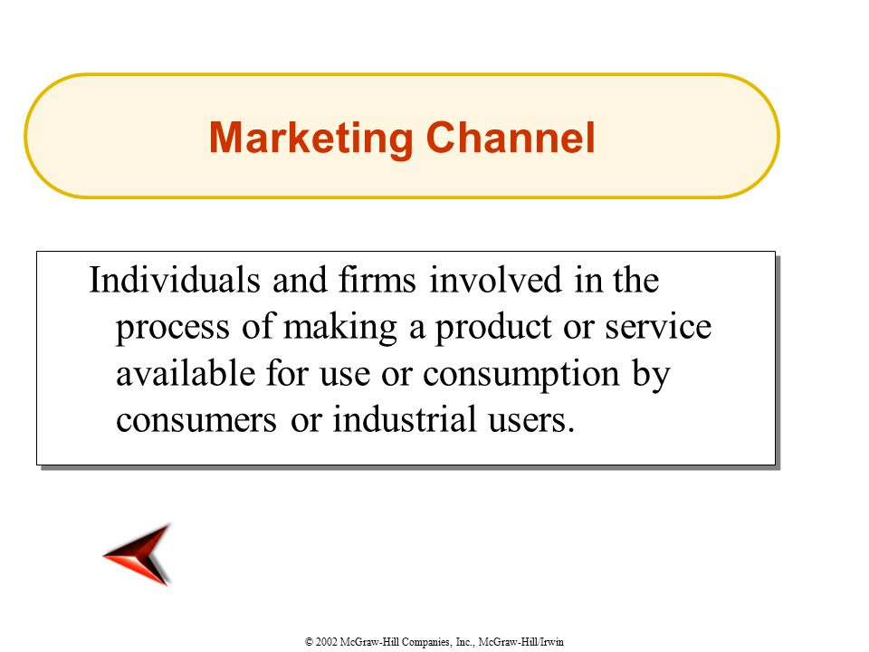 © 2002 McGraw-Hill Companies, Inc., McGraw-Hill/Irwin Individuals and firms involved in the process of making a product or service available for use or consumption by consumers or industrial users.
