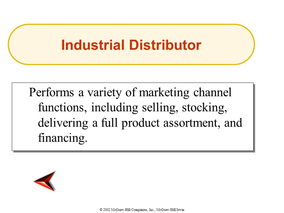 © 2002 McGraw-Hill Companies, Inc., McGraw-Hill/Irwin Performs a variety of marketing channel functions, including selling, stocking, delivering a full product assortment, and financing.