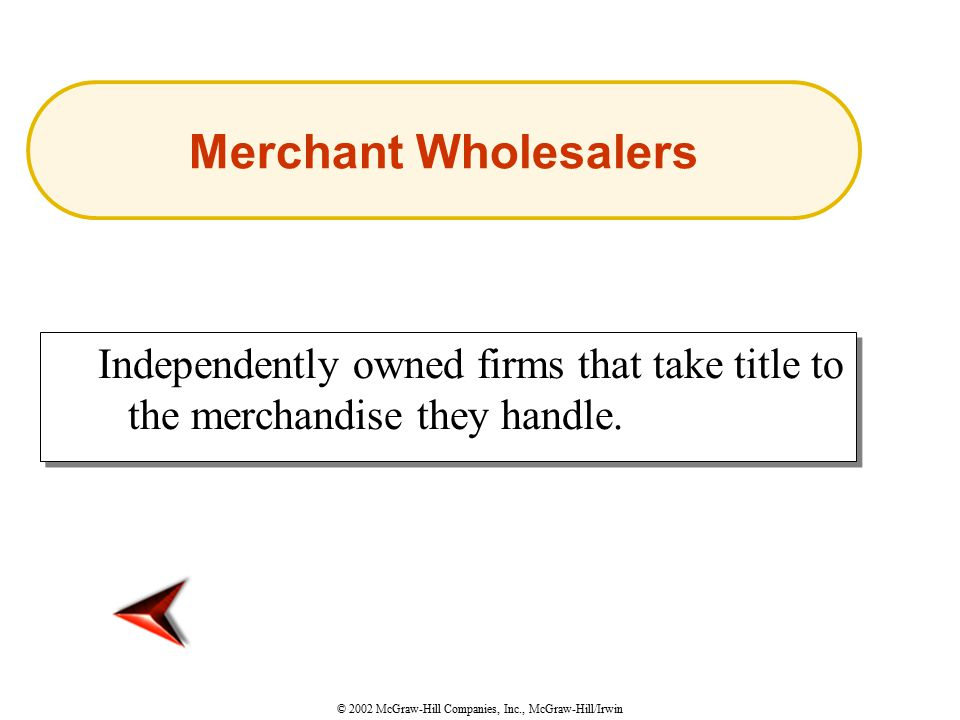 © 2002 McGraw-Hill Companies, Inc., McGraw-Hill/Irwin Independently owned firms that take title to the merchandise they handle.