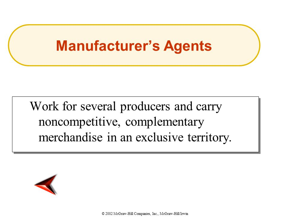 © 2002 McGraw-Hill Companies, Inc., McGraw-Hill/Irwin Work for several producers and carry noncompetitive, complementary merchandise in an exclusive territory.