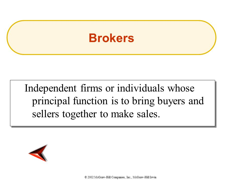 © 2002 McGraw-Hill Companies, Inc., McGraw-Hill/Irwin Independent firms or individuals whose principal function is to bring buyers and sellers together to make sales.