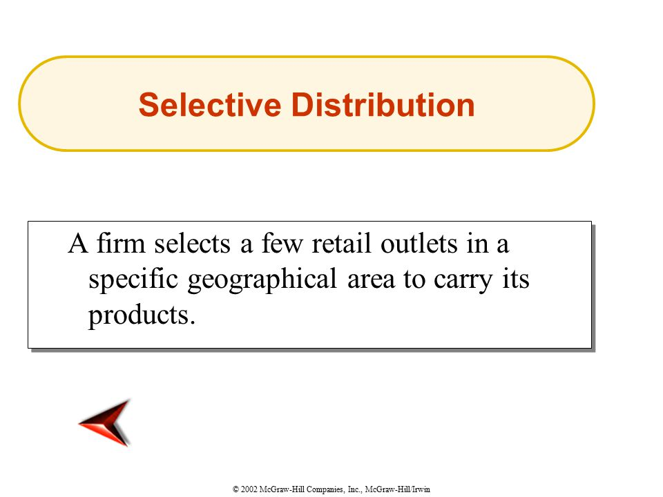 © 2002 McGraw-Hill Companies, Inc., McGraw-Hill/Irwin A firm selects a few retail outlets in a specific geographical area to carry its products.