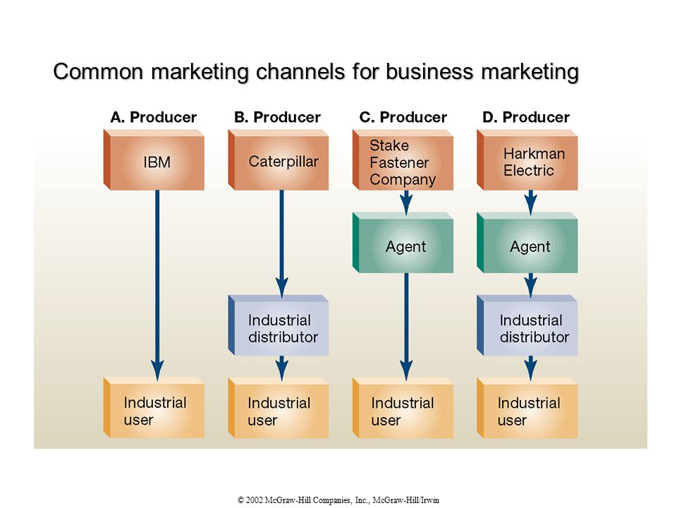 © 2002 McGraw-Hill Companies, Inc., McGraw-Hill/Irwin Common marketing channels for business marketing