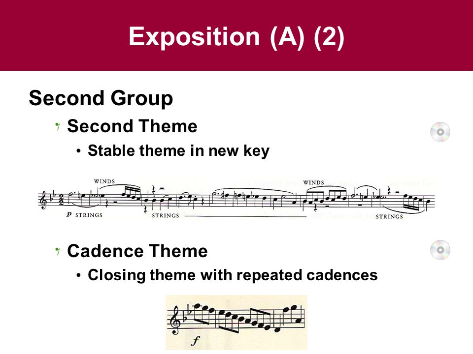 Exposition (A) (2) Second Group Second Theme Stable theme in new key Cadence Theme Closing theme with repeated cadences