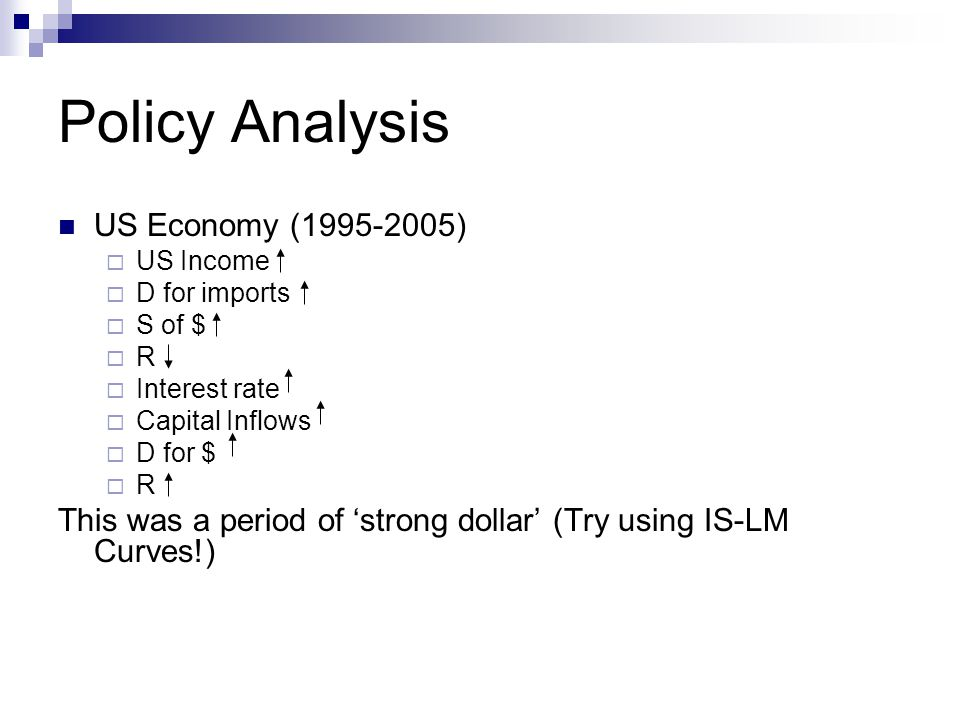 Policy Analysis US Economy ( )  US Income  D for imports  S of $  R  Interest rate  Capital Inflows  D for $  R This was a period of 'strong dollar' (Try using IS-LM Curves!)