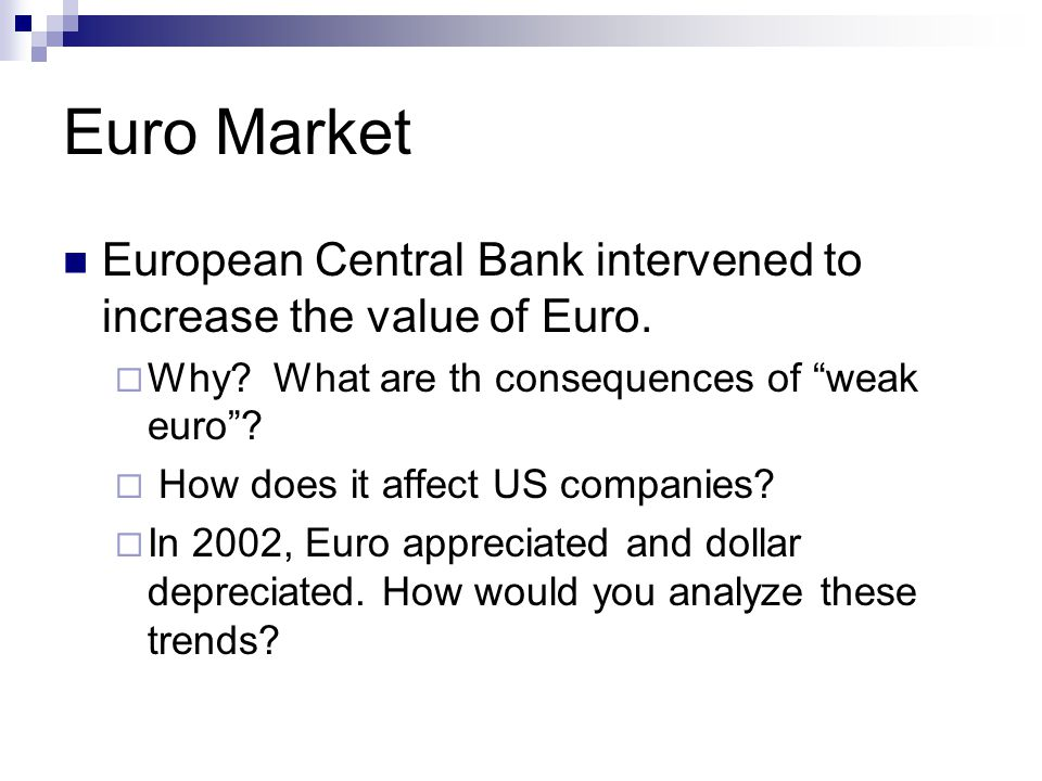 Euro Market European Central Bank intervened to increase the value of Euro.