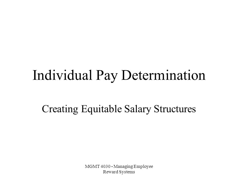 MGMT Managing Employee Reward Systems Individual Pay Determination
