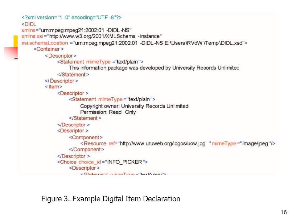 16 Figure 3. Example Digital Item Declaration