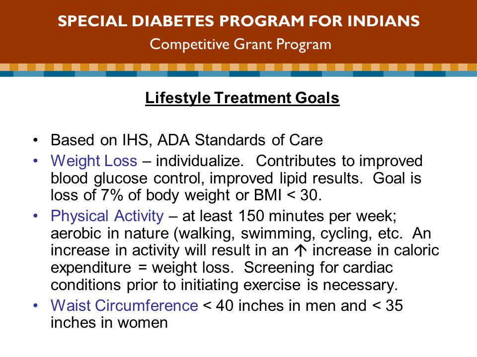 Lifestyle Treatment Goals Based on IHS, ADA Standards of Care Weight Loss – individualize.