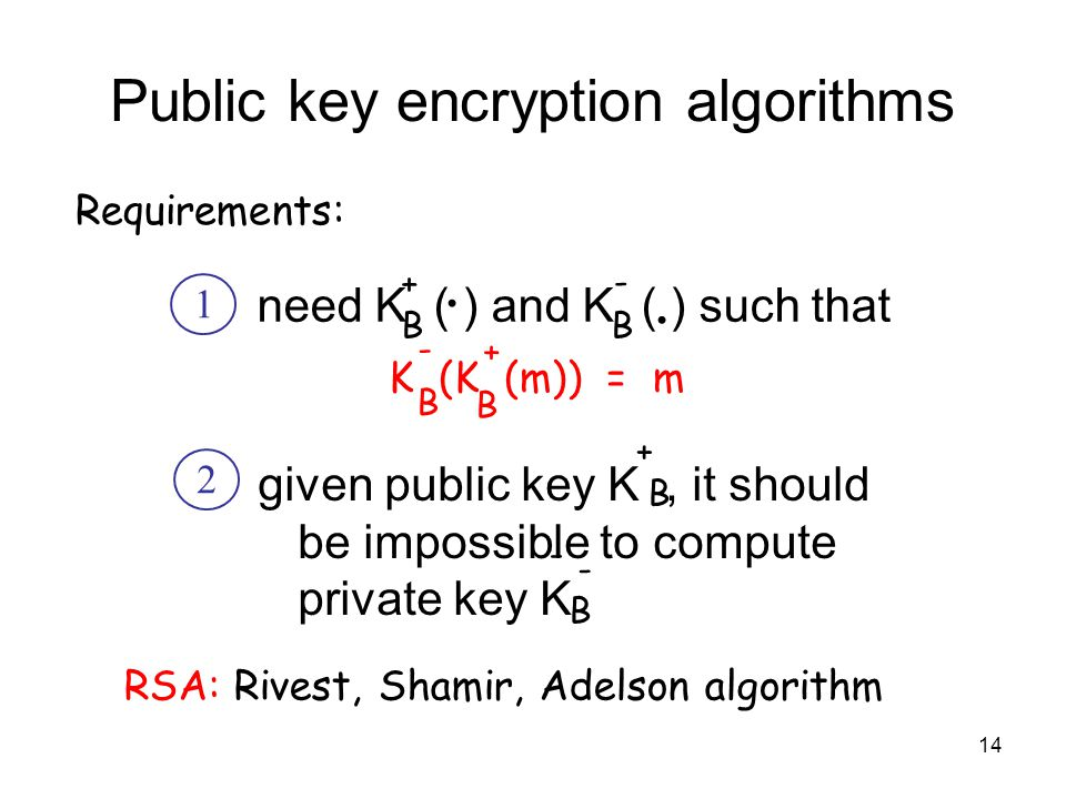 14 Public key encryption algorithms need K ( ) and K ( ) such that BB..