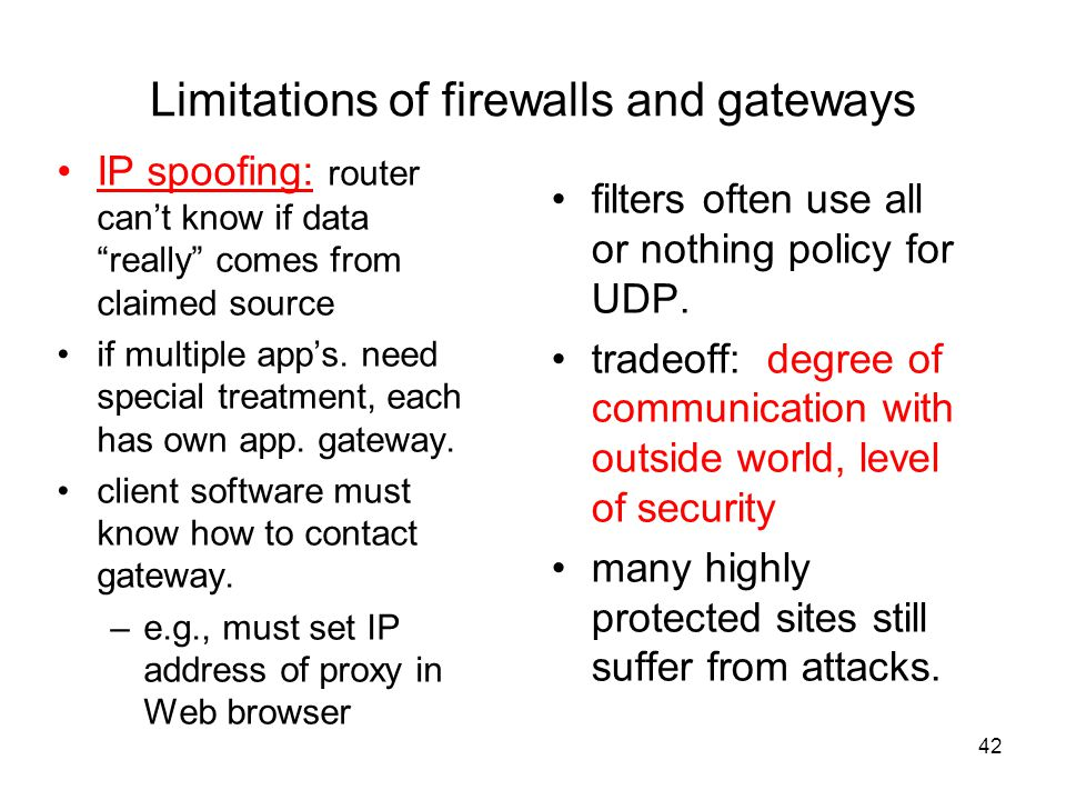 42 Limitations of firewalls and gateways IP spoofing: router can't know if data really comes from claimed source if multiple app's.
