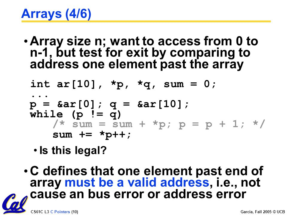 CS61C L3 C Pointers (1) Garcia, Fall 2005 © UCB Lecturer PSOE, new