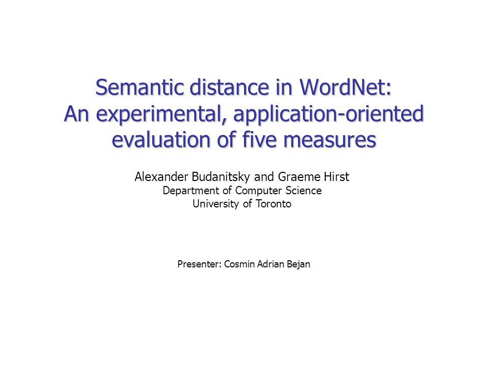 Semantic distance in WordNet: An experimental, application