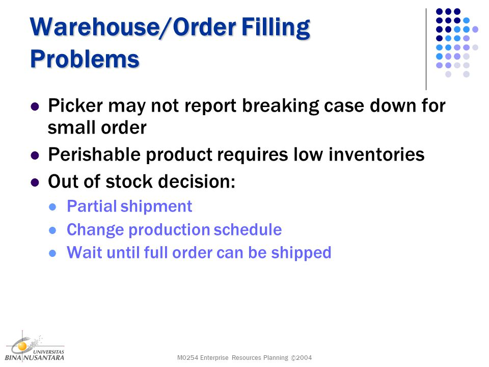 M0254 Enterprise Resources Planning ©2004 Warehouse/Order Filling Problems Picker may not report breaking case down for small order Perishable product requires low inventories Out of stock decision: Partial shipment Change production schedule Wait until full order can be shipped