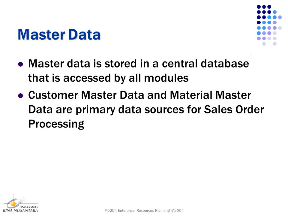 M0254 Enterprise Resources Planning ©2004 Master Data Master data is stored in a central database that is accessed by all modules Customer Master Data and Material Master Data are primary data sources for Sales Order Processing