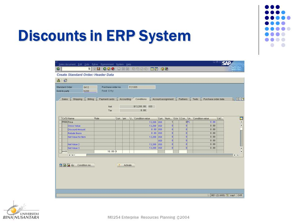 M0254 Enterprise Resources Planning ©2004 Discounts in ERP System Sold-to party P.O.