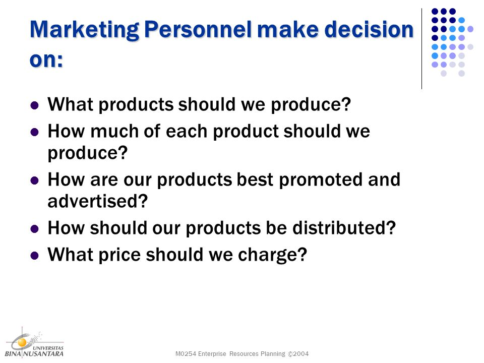 M0254 Enterprise Resources Planning ©2004 Marketing Personnel make decision on: What products should we produce.