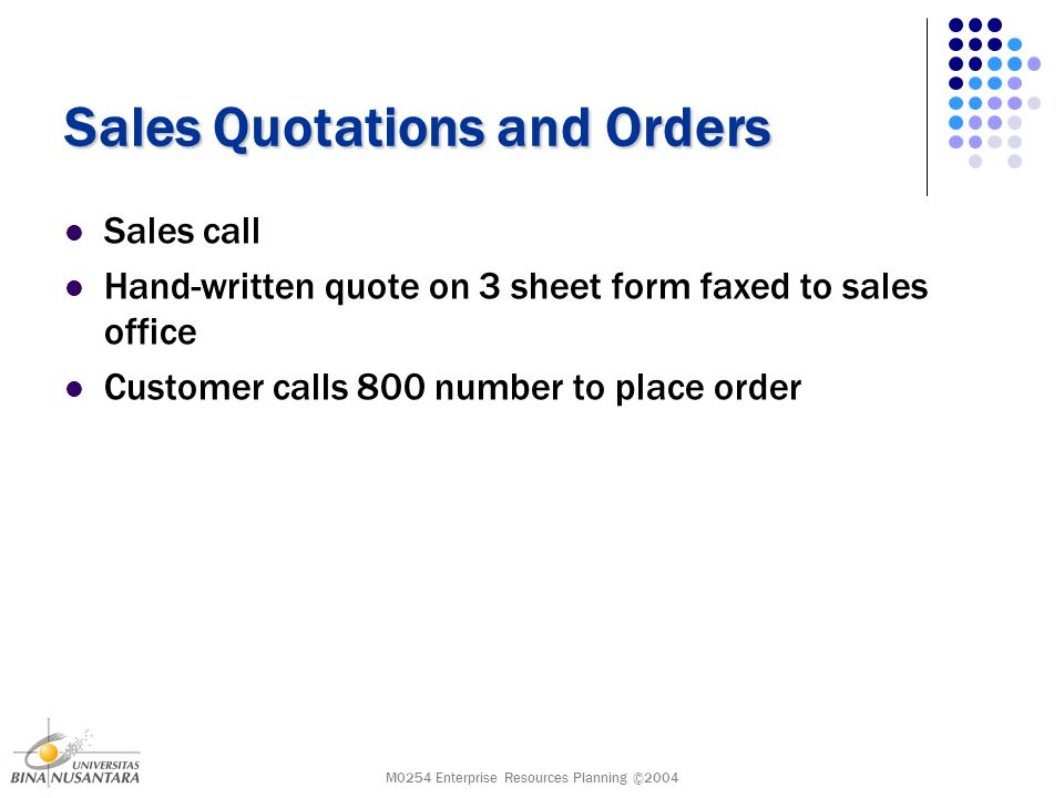 M0254 Enterprise Resources Planning ©2004 Sales Quotations and Orders Sales call Hand-written quote on 3 sheet form faxed to sales office Customer calls 800 number to place order