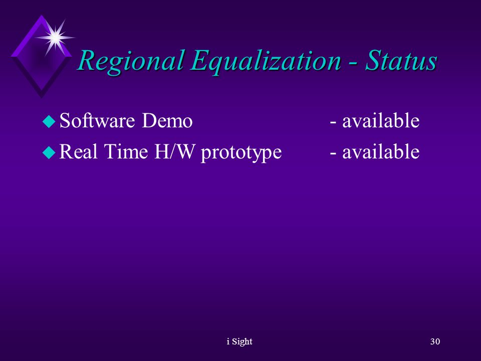 i Sight29 Regional Equalization u Please look also at printed examples Of Regional Equalization