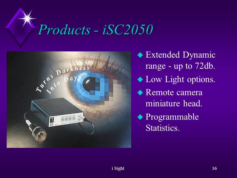 i Sight35 Products - iSC2020 u Extended Dynamic Range.
