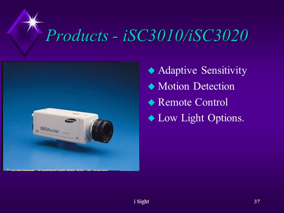 i Sight36 Products - iSC2050 u Extended Dynamic range - up to 72db.
