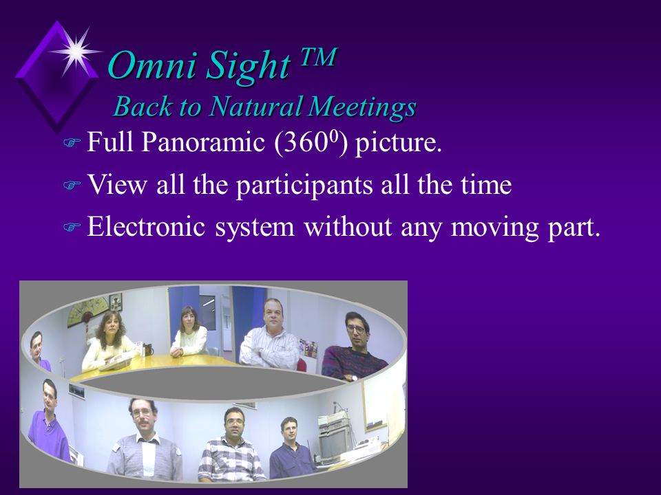 Omni Sight TM Back to Natural Meetings u Centrally positioned System - enables round table meetings u Brings back the focus to the people