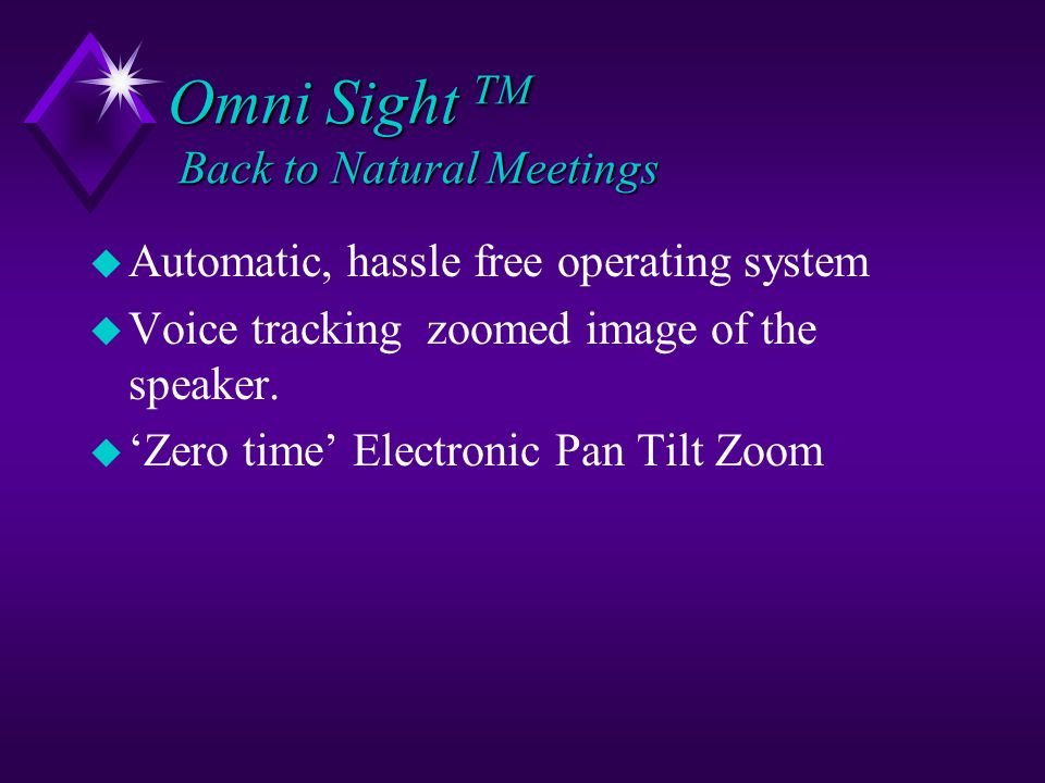 Omni Sight TM Back to Natural Meetings F Full Panoramic (360 0 ) picture.