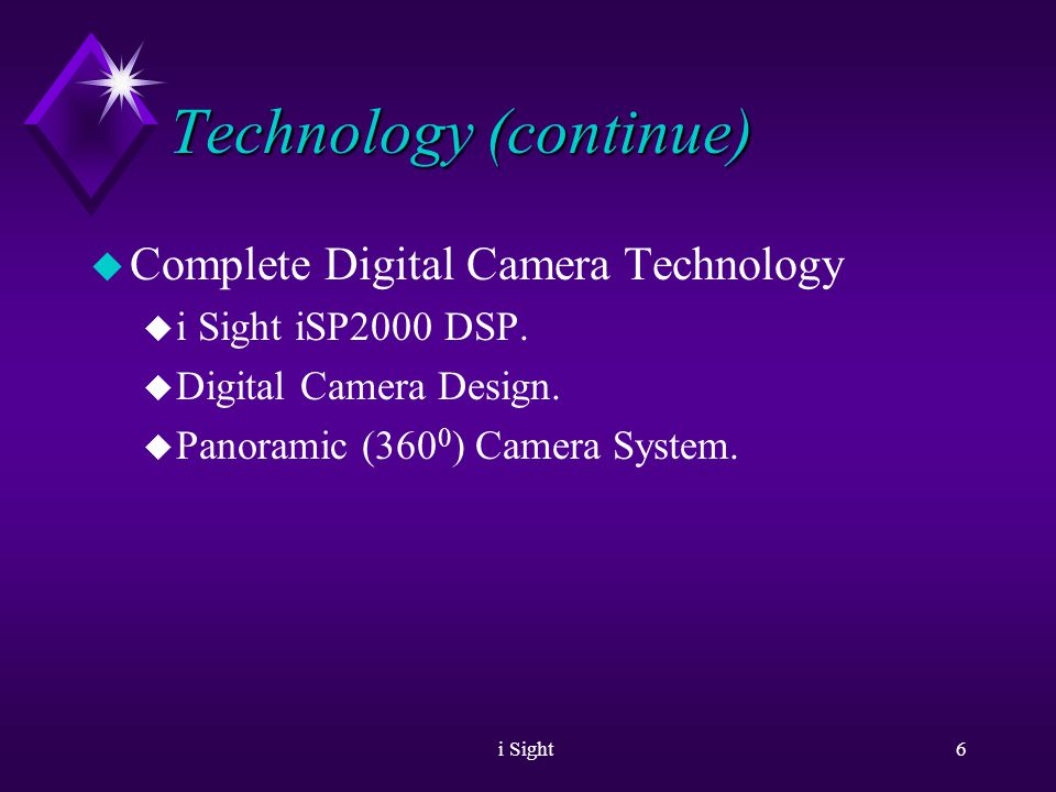 i Sight5 Technology u Unique patented technologies u Image acquisition u Adaptive Sensitivity TM u Image enhancement: u Super Resolution u Regional Equalization u Meeting room solution u OmniSight TM.