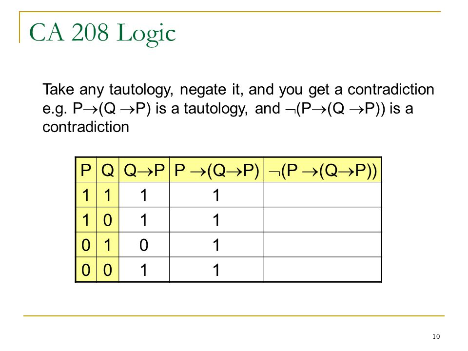 10 CA 208 Logic PQ QPQPP  (Q  P)  (P  (Q  P)) Take any tautology, negate it, and you get a contradiction e.g.
