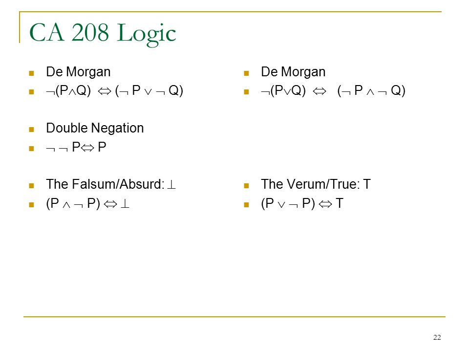 22 CA 208 Logic De Morgan  (P  Q)  (  P   Q) Double Negation   P  P The Falsum/Absurd:  (P   P)   De Morgan  (P  Q)  (  P   Q) The Verum/True: T (P   P)  T