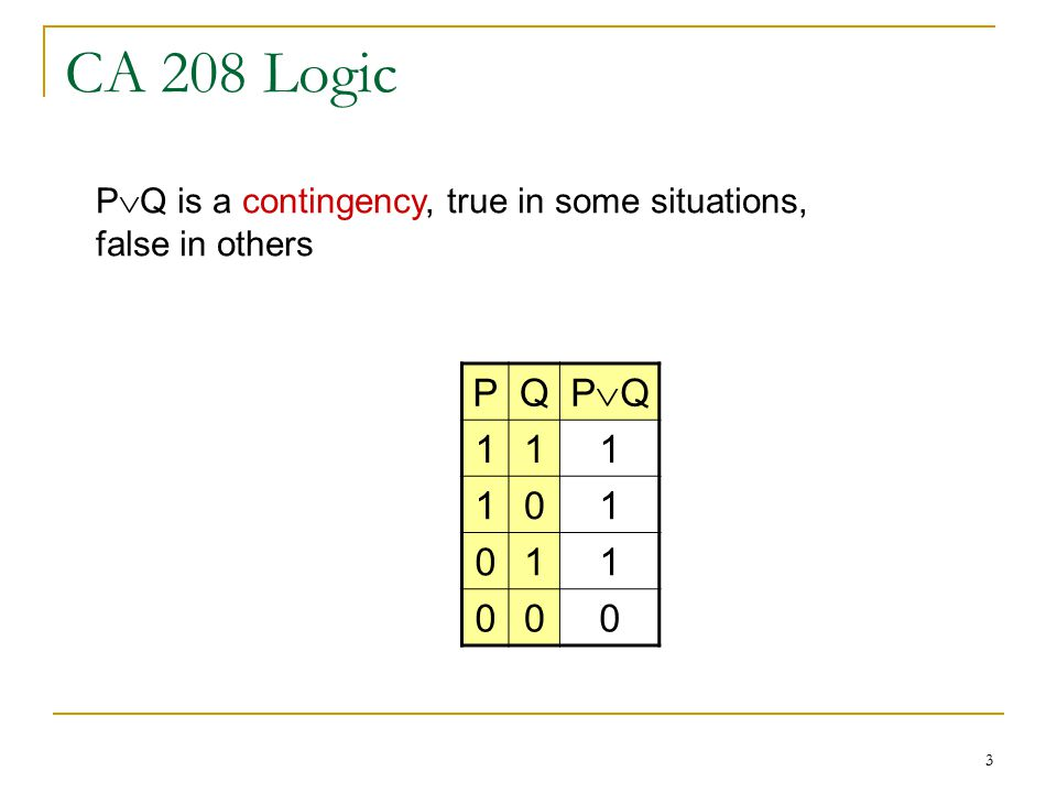 3 CA 208 Logic PQ PQPQ P  Q is a contingency, true in some situations, false in others